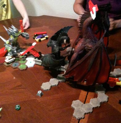 Sometimes all you need is some dice, some legos and a colossal red dragon